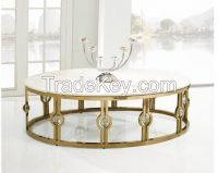Coffee table > Oval gilded gold stainless steel frame with marble surface coffee table