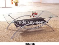 Square steel flame plus Reinforced glass surface coffee table