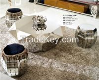 Hexagon stainless steel frame coffee table