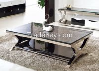 Rectangle Reinforced glass stainless steel frame coffee table