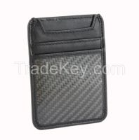 Genuine Leather Carbon Fiber Wallet Card Holder RFID Blocking