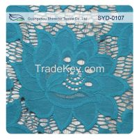 sky blue rose flower pattern guipure lace fabric for evening suit SYD-0107