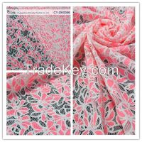 2014 Newest burnout chemical lace polyester fabric cotton lace fabric for fashion lady dress Guangzhou CY-DK0046