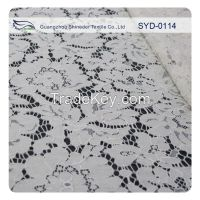 White floral cord lace fabric with eyelash for wedding dress SYD-0114