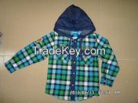 spring/autumn kids wear boy's long sleeve shirt with hood
