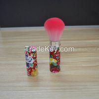 Fiber retractable makeup brush red colorful flower design hot product