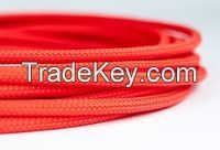 Flexible 4mm Red Round PET braided cable sleeve & wire sleeving