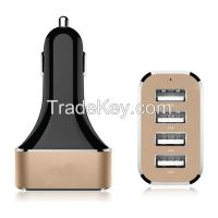 4 USB Ports Car Charger with 9.6A Output, 2.4A Max Output for Single USB Port, Blue LED Indicator, Aluminum Case