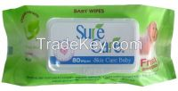 80 sheets baby wet wipes Sure care