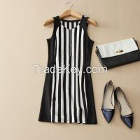 European and American fashion Black and white vertical striped vest skirt dress