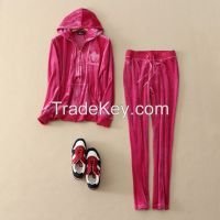 Velvet leisure suit European and American Home hooded sweater