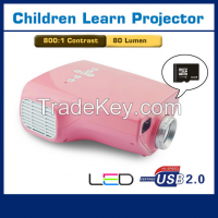 Mini led projector for children's early education, E03 with HDMI,VGA,AV,EF port