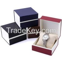 cheaper plastic frame and color paper outer watch packing box for wholesale and custom make