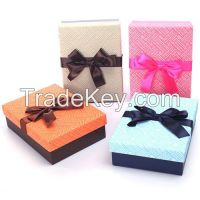 popular welcome two pcs gift paper box with bowknot on top for wholesale and custom make