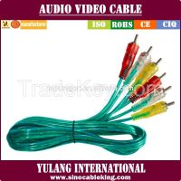 Transparent 3rca to 3rca mix color cable for Indonesia