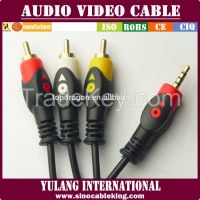 Hot-sale 3.5mm to 3RCA Audio Video cable with fish-eye plugs