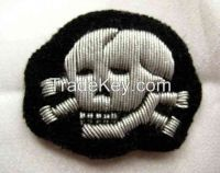 German SS Cap Insignia Hand Embroidery Badge
