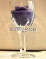 Purple Color Glass Decorative Candle Holder With Flower