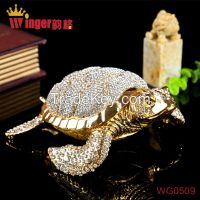 Hand Made Full Crystal Big Tortoise Gold Metal Crafts Feng Shui Home Decoration Vintage Animal Casket Wedding Rings Box Figurine