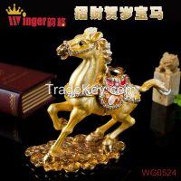 Newest Business Gift Animal Horse Metal Crafts Diamond Magnet Trinket Box Feng Shui Pewter Casket Horse Figurine Money Drawing