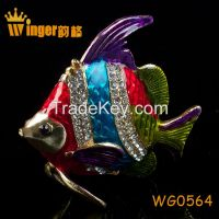 Happy Reunion Figurine Christmas Gift Crystal Craft Animal Metal Trinket Box Casket DIY Home Office Display Fish Tank Decoration