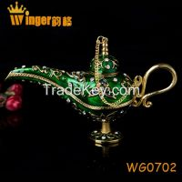 Free Shipping Wholesale Golden India Magic Lamp Vintage Retro Genie Lamp Souvenir Easter Home Decoration Aladin Lamp Collectible