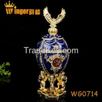 Eagle Decoration Faberge Russia Eggs Trinket Box Sculpture Casket Vintage Home Decoration Easter Egg Magnet Metal Crafts