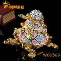 Hand Made Full Crystal Big Tortoise Gold Metal Crafts Feng Shui Home Decoration Vintage Animal Casket Wedding Rings Box Figurine