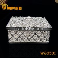Square Silver Jewelry Trinket Box Women Necklace Container Antique Pewter Casket Gift New Year Magnet Metal Craft Dressing Case