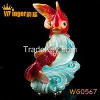 Happy Reunion Figurine Christmas Gift Crystal Craft Animal Metal Trinket Box Casket DIY Home Office Display Fish Tank Decoration