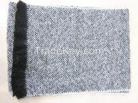 Acrylic mohair woven herringbone scarf for men