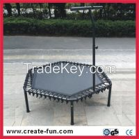 professional TUV-GS appraoved jumping fitness hexagonal trampoline with handle bar