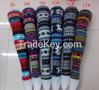 women christmas leggings snow deer tights leggings retail and wholesale