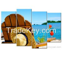 Stretched Canvas Art, Leisure Beach Seascape Wall Pictures, Chair with cocktail, 4 panels a set , Wall Display Use