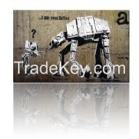 """Stretched Canvas Art, Banksy Street Graffiti Art, """"I am Your Father"""", 80x50cm, Liven Up Home Office Hotel Decor painting"""