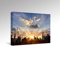 Stretched Canvas Prints, Gallery Wrap Wall Art, Chicago Awakens, Morning Sunrise, Liven Up Home Office Hotel Decor