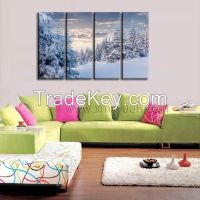 Canvas Wall Art, Gallery Wrap Frame, Snowy White Forest scenery, Wall Pictures Prints, 4 panels a set, Brighten Home Decor Use