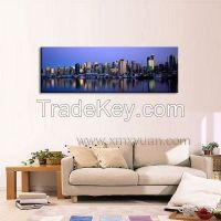 Huge Canvas Wall Art, Gallery Wrap Frame, Panoramic Cityscape Wall Pictures, Poster Prints, 120x40cm, Ready to Hang onto Wall