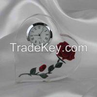 custom design crystal glass desk table clock for office table decoration
