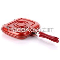 Odorless Double-side Red Frying Pan Removing Smoke Liven Korea Standard size