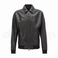 Men Bomber Style Leather Fashion Jacket