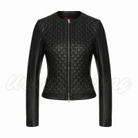 Women Leather Jacket with Quilted Front