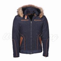 Men Textile Jacket with Hoodie Fur Lining
