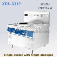 Commercial induction range, single-burner with single stockpot, 220V 6kWx2