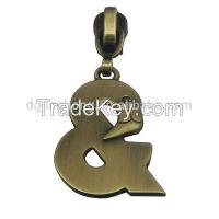 brushed antique brass woodpecker zipper puller