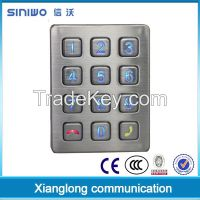 4x3 12 keys matrix stainless steel backlit illuminated backlit keypad