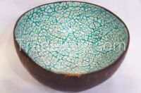 coconut shell bowl blue color eggshell inlaid handmade in Vietnam high quality bowl