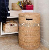 rattan basket laundry basket for household handwoven in Vietnam