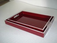 lacquer tray handmade in Vietnam dark red color
