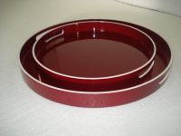 lacquer tray handmade in Vietnam red color round shape